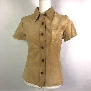 Gap genuine Leather button down top size Small
